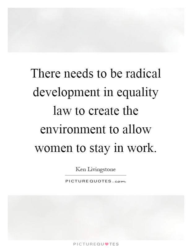 There needs to be radical development in equality law to create the environment to allow women to stay in work Picture Quote #1