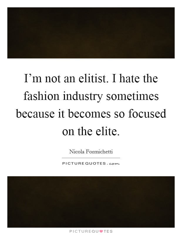 I'm not an elitist. I hate the fashion industry sometimes because it becomes so focused on the elite Picture Quote #1