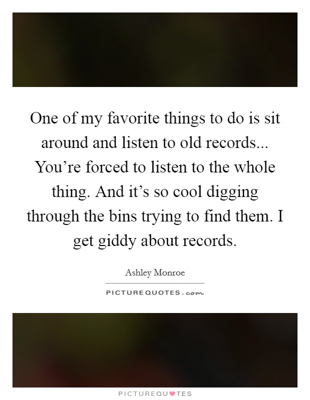 One of my favorite things to do is sit around and listen for Cool things to do with old records