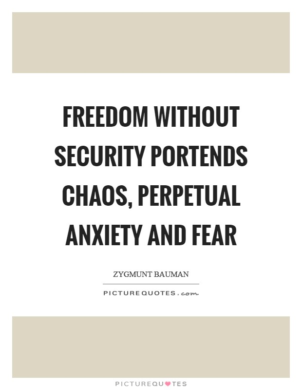 Freedom without security portends chaos, perpetual anxiety and fear Picture Quote #1