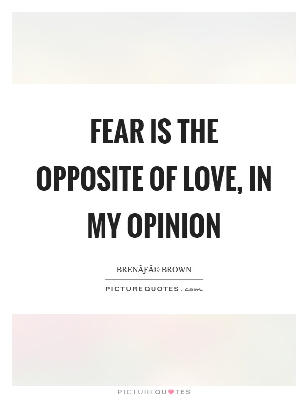 Fear is the opposite of love, in my opinion Picture Quote #1
