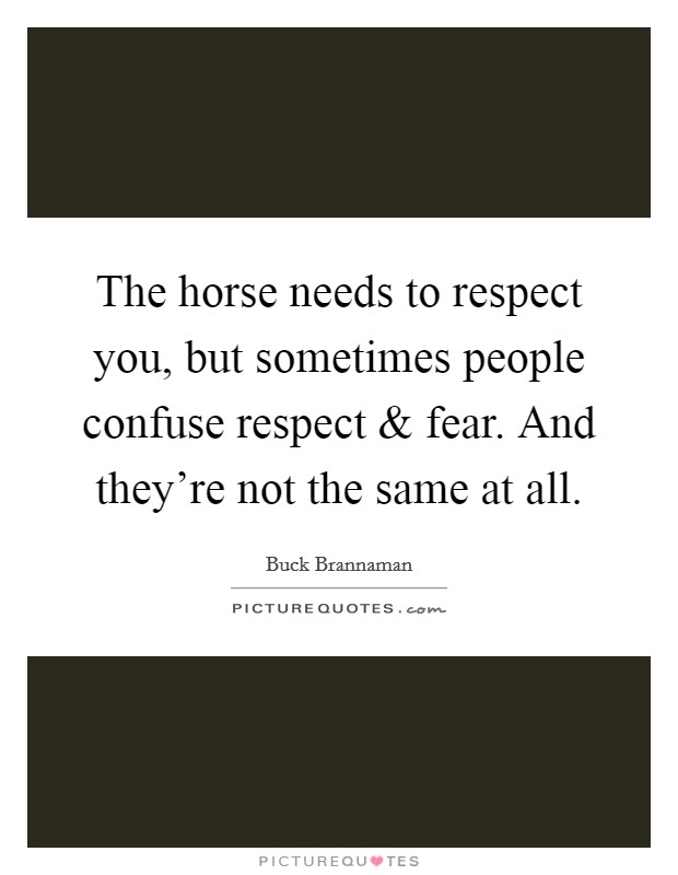 The horse needs to respect you, but sometimes people confuse respect and fear. And they're not the same at all Picture Quote #1