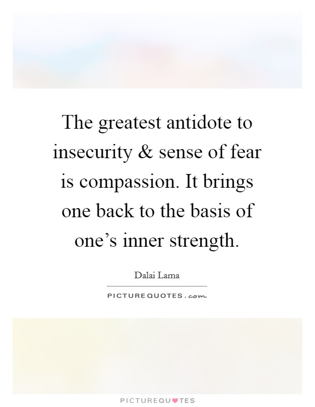 The greatest antidote to insecurity and sense of fear is compassion. It brings one back to the basis of one's inner strength Picture Quote #1