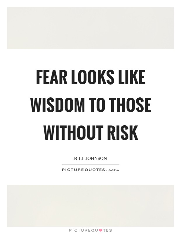 Fear looks like wisdom to those without risk Picture Quote #1