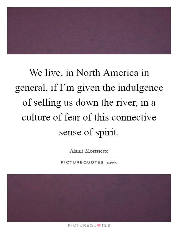 We live, in North America in general, if I'm given the indulgence of selling us down the river, in a culture of fear of this connective sense of spirit Picture Quote #1