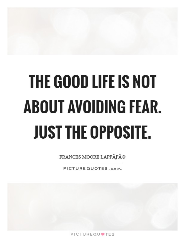 The good life is not about avoiding fear. Just the opposite Picture Quote #1