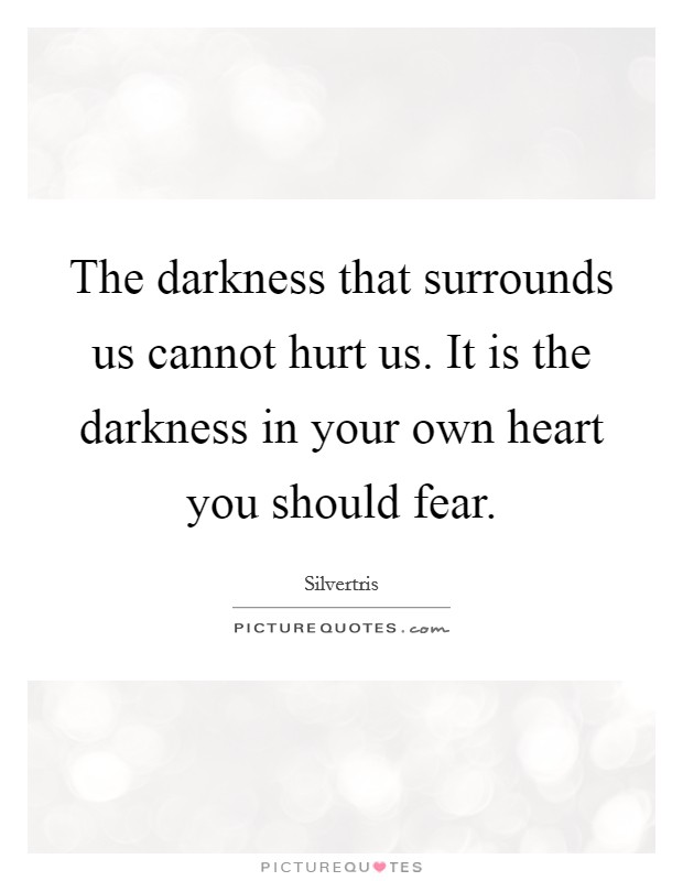 The darkness that surrounds us cannot hurt us. It is the darkness in your own heart you should fear Picture Quote #1