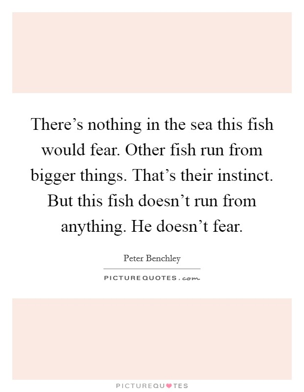 There's nothing in the sea this fish would fear. Other fish run from bigger things. That's their instinct. But this fish doesn't run from anything. He doesn't fear Picture Quote #1