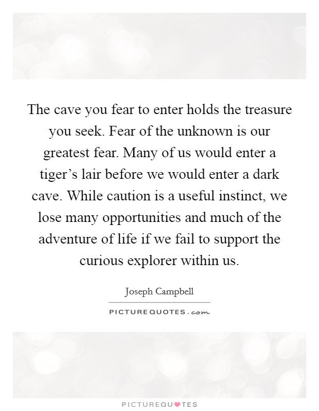 The cave you fear to enter holds the treasure you seek. Fear of the unknown is our greatest fear. Many of us would enter a tiger's lair before we would enter a dark cave. While caution is a useful instinct, we lose many opportunities and much of the adventure of life if we fail to support the curious explorer within us Picture Quote #1