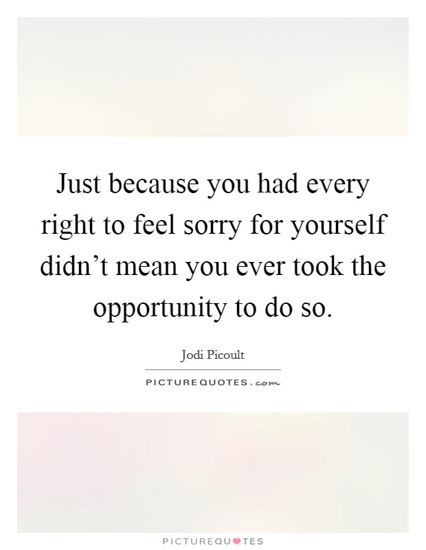 Just because you had every right to feel sorry for yourself didn't mean you ever took the opportunity to do so Picture Quote #1