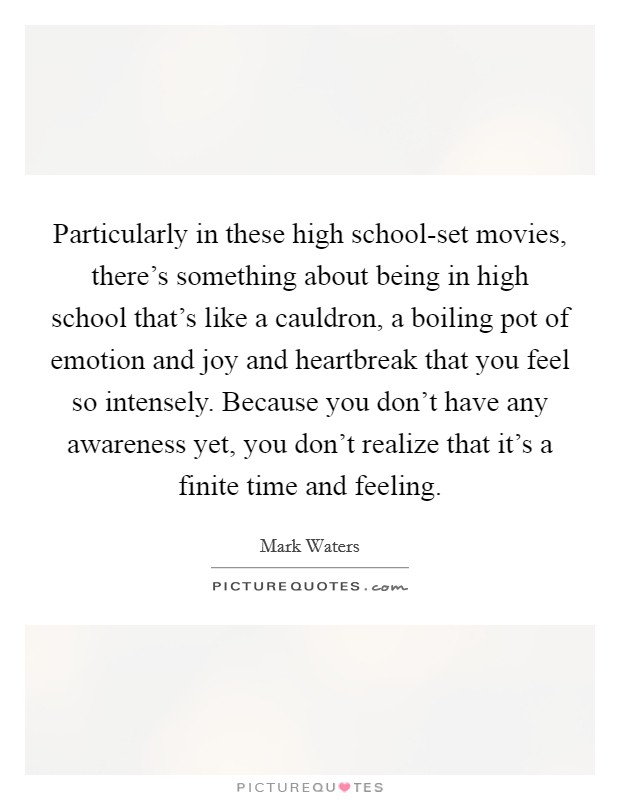 Particularly in these high school-set movies, there's something about being in high school that's like a cauldron, a boiling pot of emotion and joy and heartbreak that you feel so intensely. Because you don't have any awareness yet, you don't realize that it's a finite time and feeling Picture Quote #1