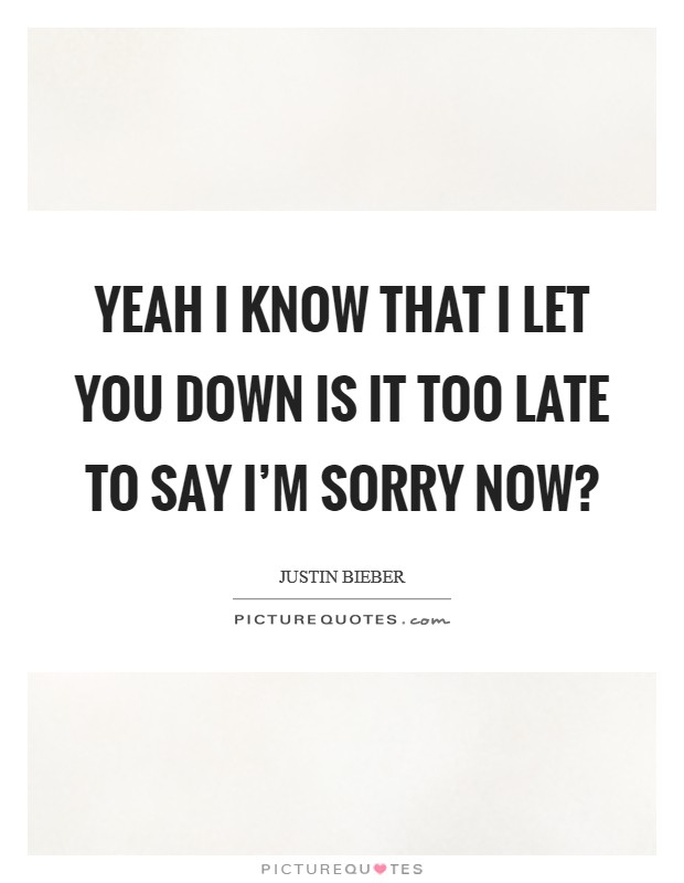 Yeah I know that I let you down Is it too late to say I'm sorry now? Picture Quote #1