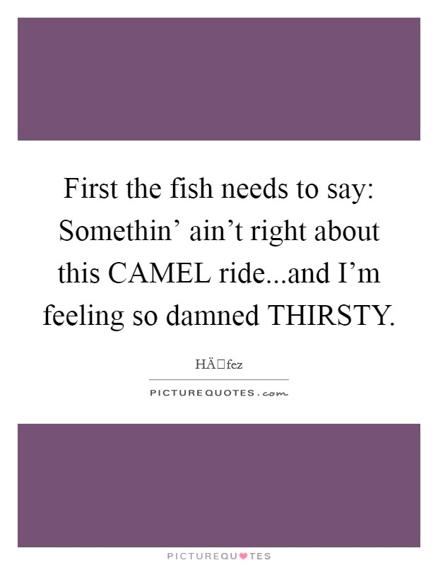 First the fish needs to say: Somethin' ain't right about this CAMEL ride...and I'm feeling so damned THIRSTY Picture Quote #1