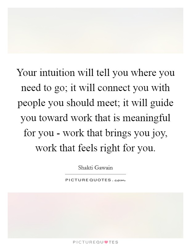 Your intuition will tell you where you need to go; it will connect you with people you should meet; it will guide you toward work that is meaningful for you - work that brings you joy, work that feels right for you Picture Quote #1