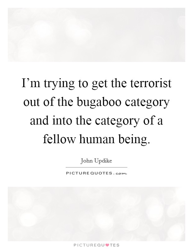 I'm trying to get the terrorist out of the bugaboo category and into the category of a fellow human being Picture Quote #1