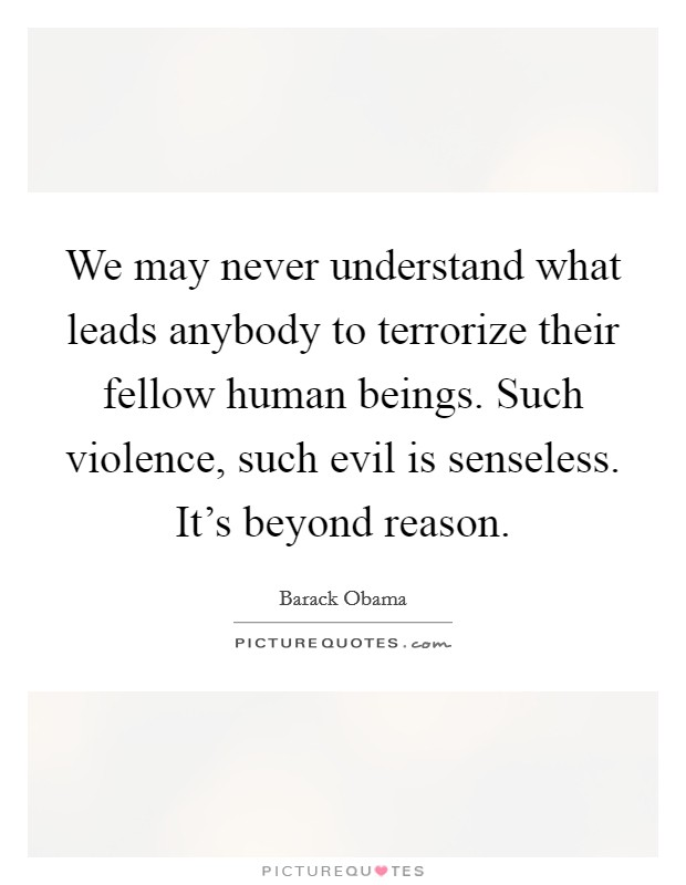 We may never understand what leads anybody to terrorize their fellow human beings. Such violence, such evil is senseless. It's beyond reason Picture Quote #1