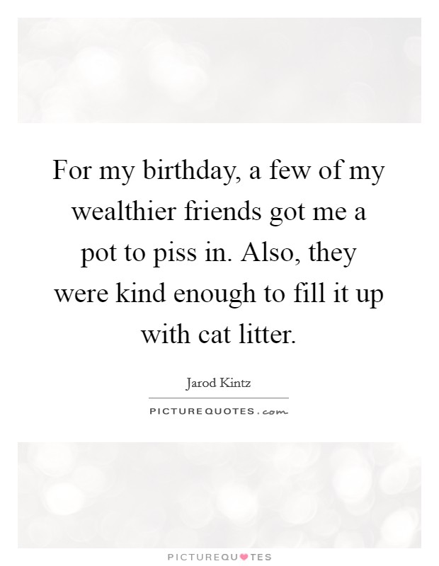 For my birthday, a few of my wealthier friends got me a pot to piss in. Also, they were kind enough to fill it up with cat litter Picture Quote #1