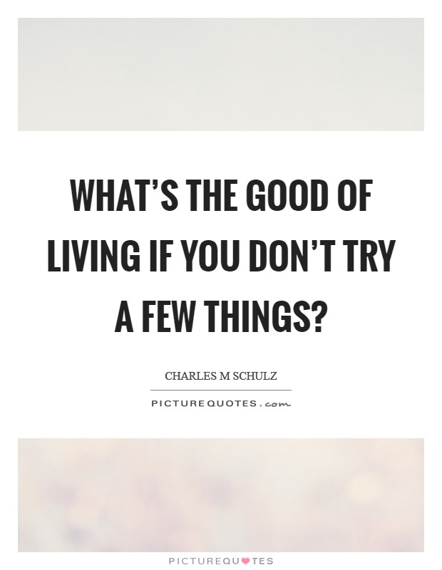 What's the good of living if you don't try a few things? Picture Quote #1
