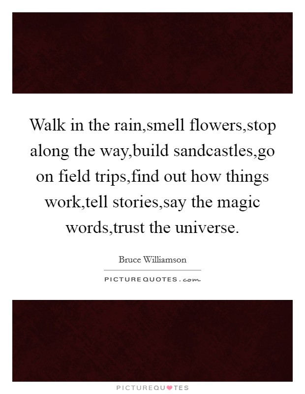 Walk in the rain,smell flowers,stop along the way,build sandcastles,go on field trips,find out how things work,tell stories,say the magic words,trust the universe Picture Quote #1