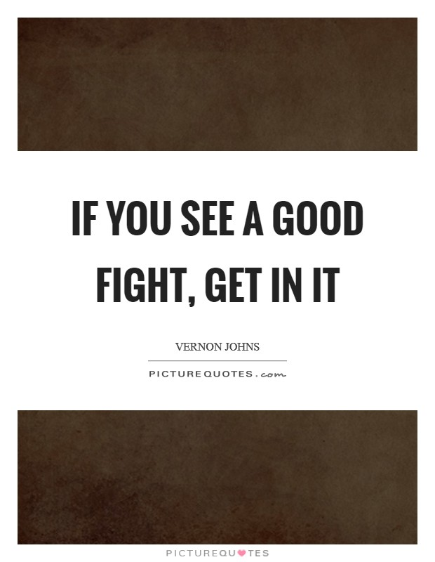 If you see a good fight, get in it Picture Quote #1