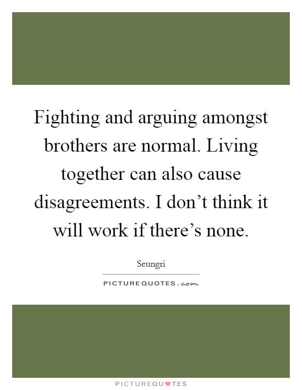 Fighting and arguing amongst brothers are normal. Living together can also cause disagreements. I don't think it will work if there's none Picture Quote #1