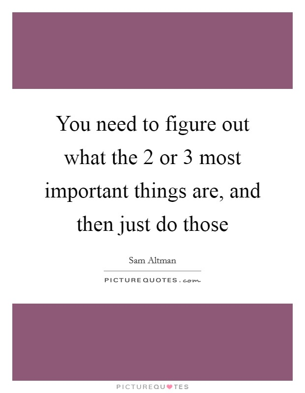 You need to figure out what the 2 or 3 most important things are, and then just do those Picture Quote #1