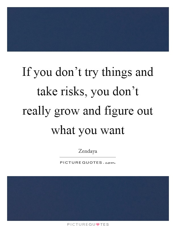 If you don't try things and take risks, you don't really grow and figure out what you want Picture Quote #1