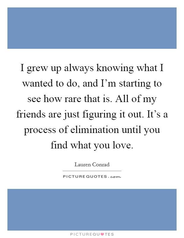 I grew up always knowing what I wanted to do, and I'm starting to see how rare that is. All of my friends are just figuring it out. It's a process of elimination until you find what you love Picture Quote #1