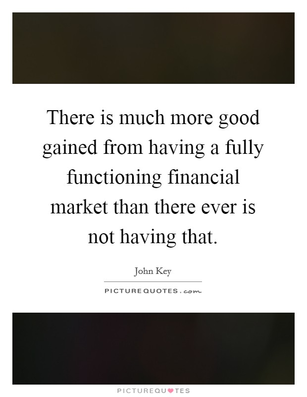 There is much more good gained from having a fully functioning financial market than there ever is not having that Picture Quote #1