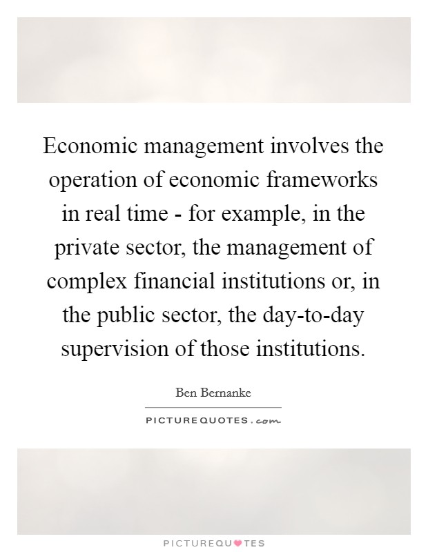 Economic management involves the operation of economic frameworks in real time - for example, in the private sector, the management of complex financial institutions or, in the public sector, the day-to-day supervision of those institutions Picture Quote #1