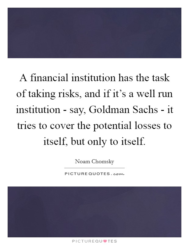 A financial institution has the task of taking risks, and if it's a well run institution - say, Goldman Sachs - it tries to cover the potential losses to itself, but only to itself Picture Quote #1