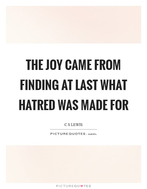 The joy came from finding at last what hatred was made for Picture Quote #1