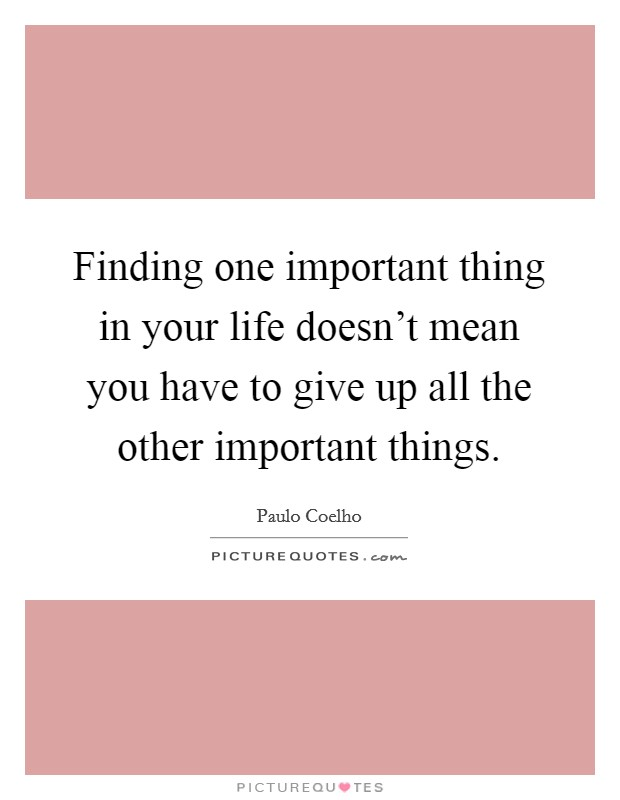 Finding one important thing in your life doesn't mean you have to give up all the other important things Picture Quote #1