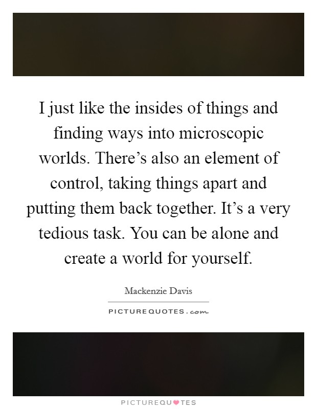 I just like the insides of things and finding ways into microscopic worlds. There's also an element of control, taking things apart and putting them back together. It's a very tedious task. You can be alone and create a world for yourself Picture Quote #1