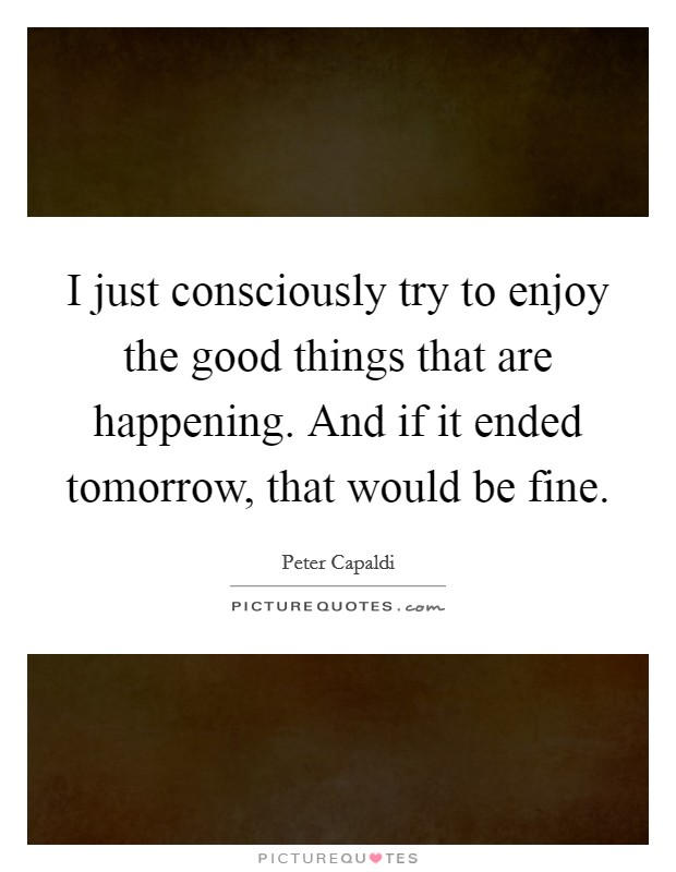 I just consciously try to enjoy the good things that are happening. And if it ended tomorrow, that would be fine Picture Quote #1