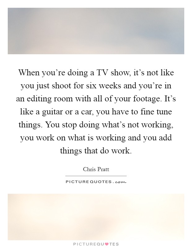 When you're doing a TV show, it's not like you just shoot for six weeks and you're in an editing room with all of your footage. It's like a guitar or a car, you have to fine tune things. You stop doing what's not working, you work on what is working and you add things that do work Picture Quote #1