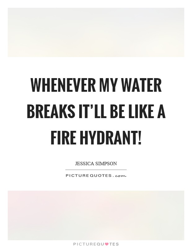 Whenever my water breaks it'll be like a fire hydrant! Picture Quote #1