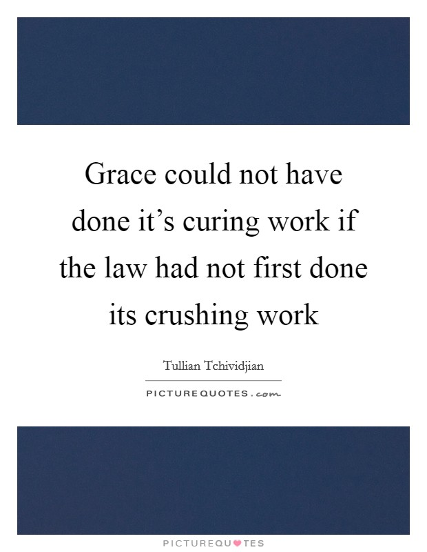 Grace could not have done it's curing work if the law had not first done its crushing work Picture Quote #1