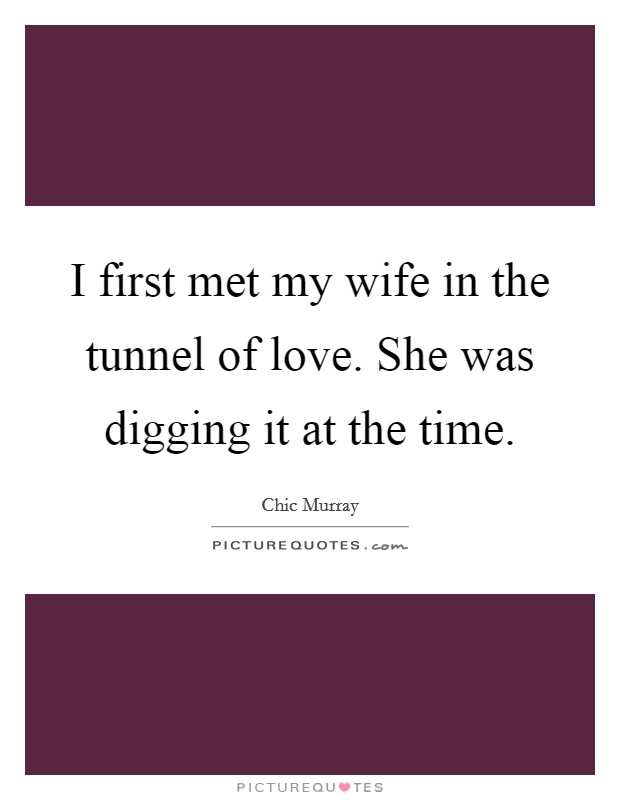 I first met my wife in the tunnel of love. She was digging it at the time Picture Quote #1