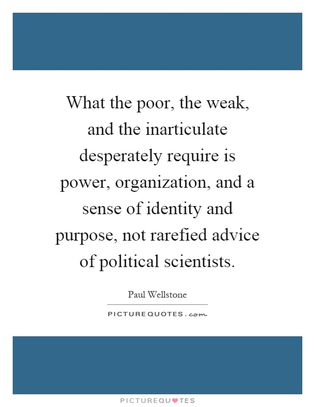 What the poor, the weak, and the inarticulate desperately require is power, organization, and a sense of identity and purpose, not rarefied advice of political scientists Picture Quote #1