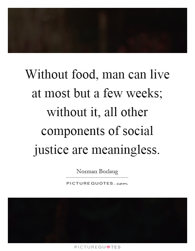 Without food, man can live at most but a few weeks; without it, all other components of social justice are meaningless Picture Quote #1
