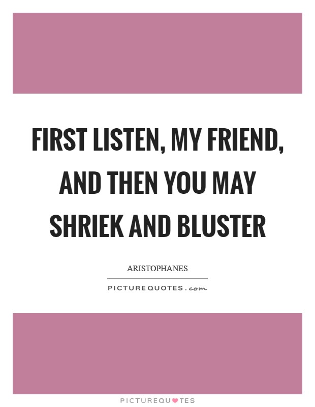 First listen, my friend, and then you may shriek and bluster Picture Quote #1