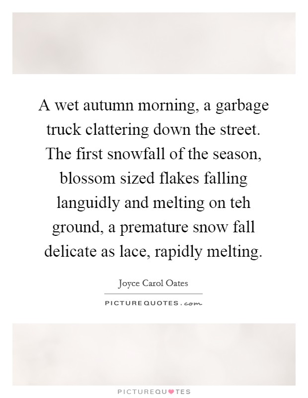 A wet autumn morning, a garbage truck clattering down the street. The first snowfall of the season, blossom sized flakes falling languidly and melting on teh ground, a premature snow fall delicate as lace, rapidly melting Picture Quote #1