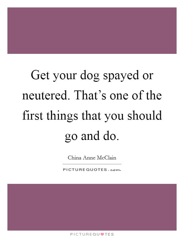 Get your dog spayed or neutered. That's one of the first things that you should go and do Picture Quote #1