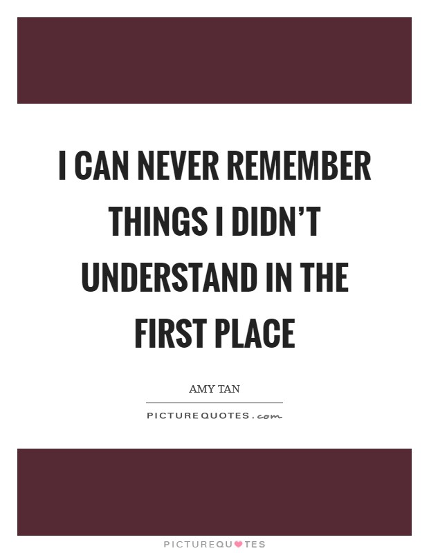 I can never remember things I didn't understand in the first place Picture Quote #1
