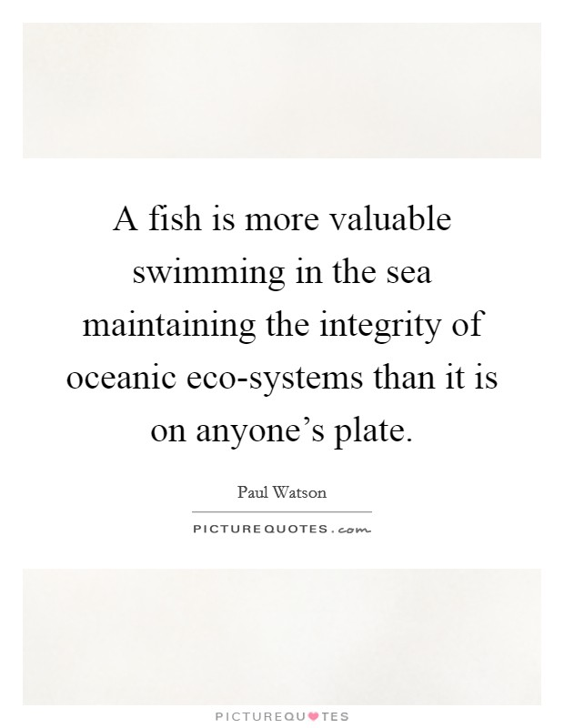 A fish is more valuable swimming in the sea maintaining the integrity of oceanic eco-systems than it is on anyone's plate Picture Quote #1