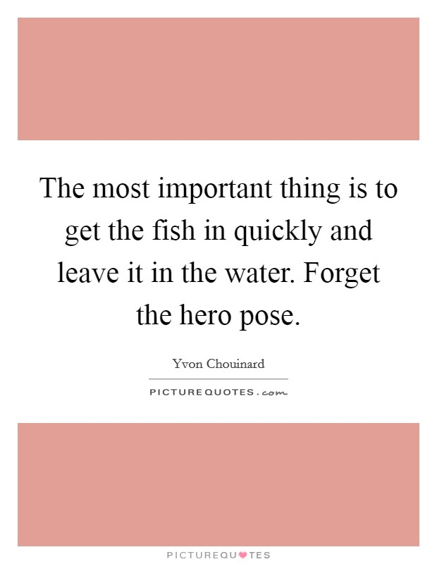 The most important thing is to get the fish in quickly and leave it in the water. Forget the hero pose Picture Quote #1