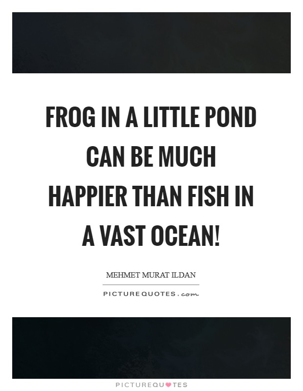 Frog in a little pond can be much happier than fish in a vast ocean! Picture Quote #1