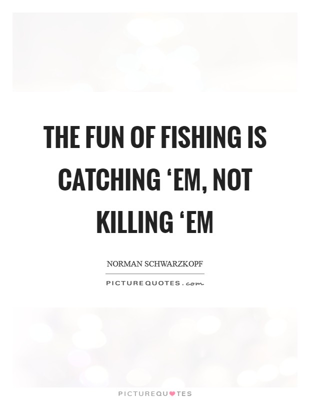 The fun of fishing is catching 'em, not killing 'em Picture Quote #1