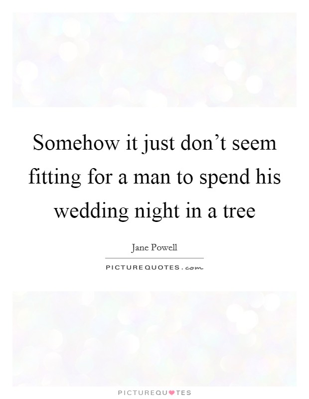 Somehow it just don't seem fitting for a man to spend his wedding night in a tree Picture Quote #1